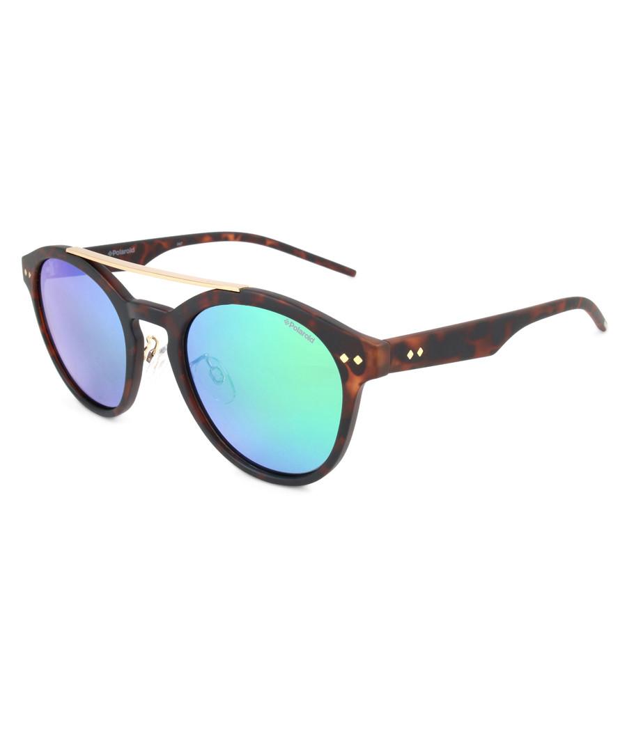 Havana & aqua rounded D-frame sunglasses Sale - polaroid