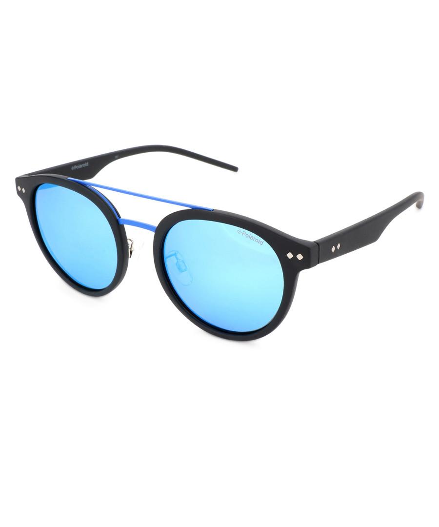 Black & sky rounded D-frame sunglasses Sale - polaroid