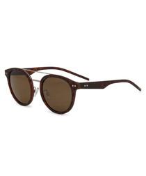 tortoiseshell rounded D-frame sunglasses