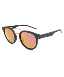 grey & fire rounded D-frame sunglasses