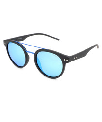 black & blue rounded D-frame sunglasses