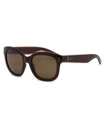 Dark Havana squared D-frame sunglasses