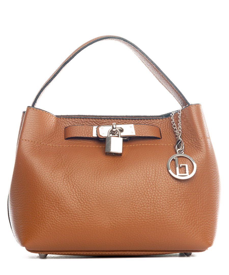 Toce cognac leather padlock bag Sale - lia biassoni