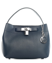 Toce dark blue leather padlock bag