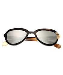 Alexa black & tan horn sunglasses