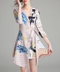 pale pink collage wrap mini dress