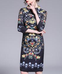 black brocade 3/4 sleeve mini dress