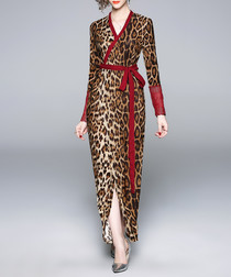 leopard print & red wrap maxi dress