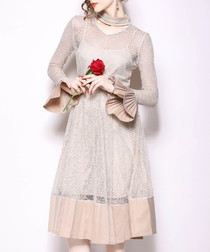 beige bell-sleeve dress