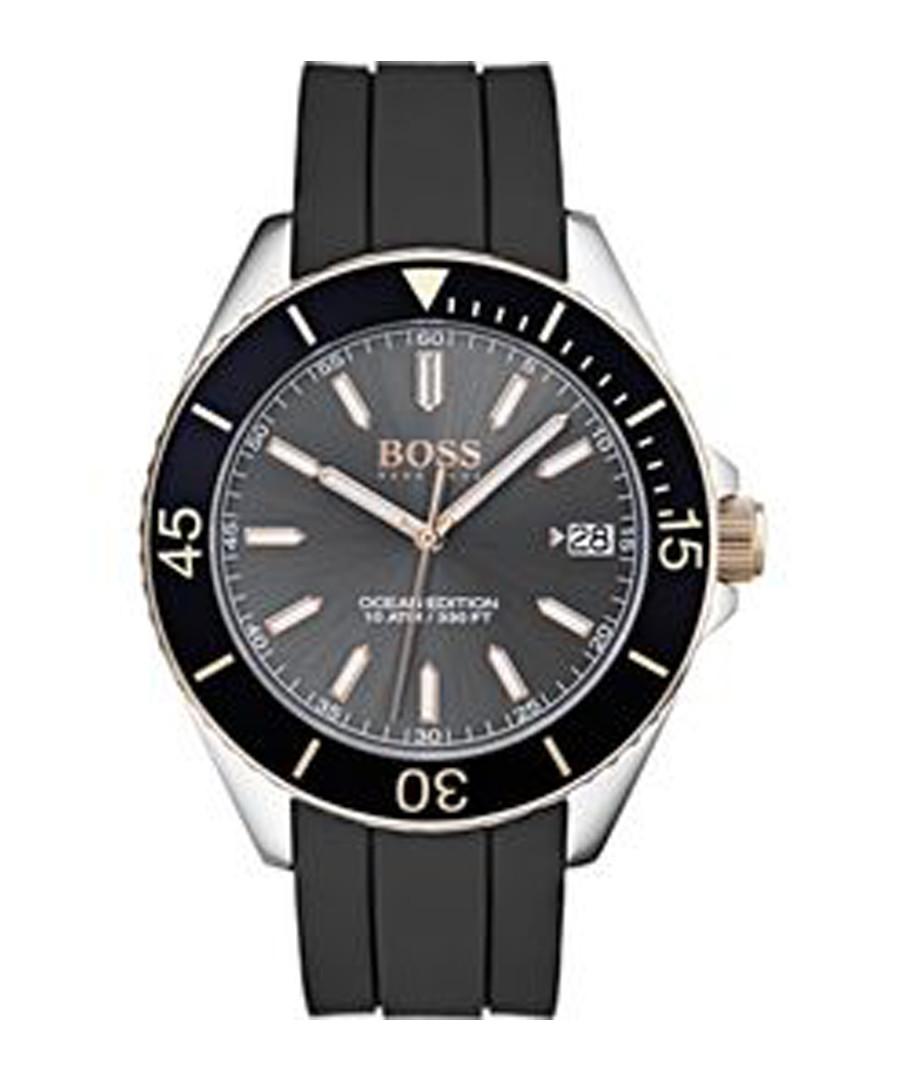 Black rubber & stainless steel watch Sale - hugo boss