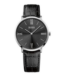 Black leather & stainless steel watch