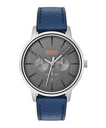 Orange navy leather & steel watch