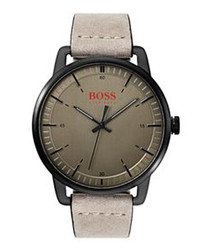 Orange stone leather & steel watch