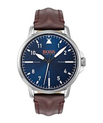 Orange brown leather & navy watch