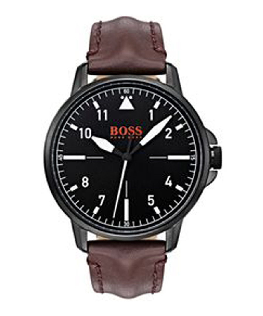 Orange black leather & navy watch Sale - boss orange