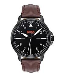 Orange black leather & navy watch