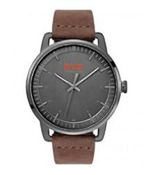 Orange brown leather & grey watch