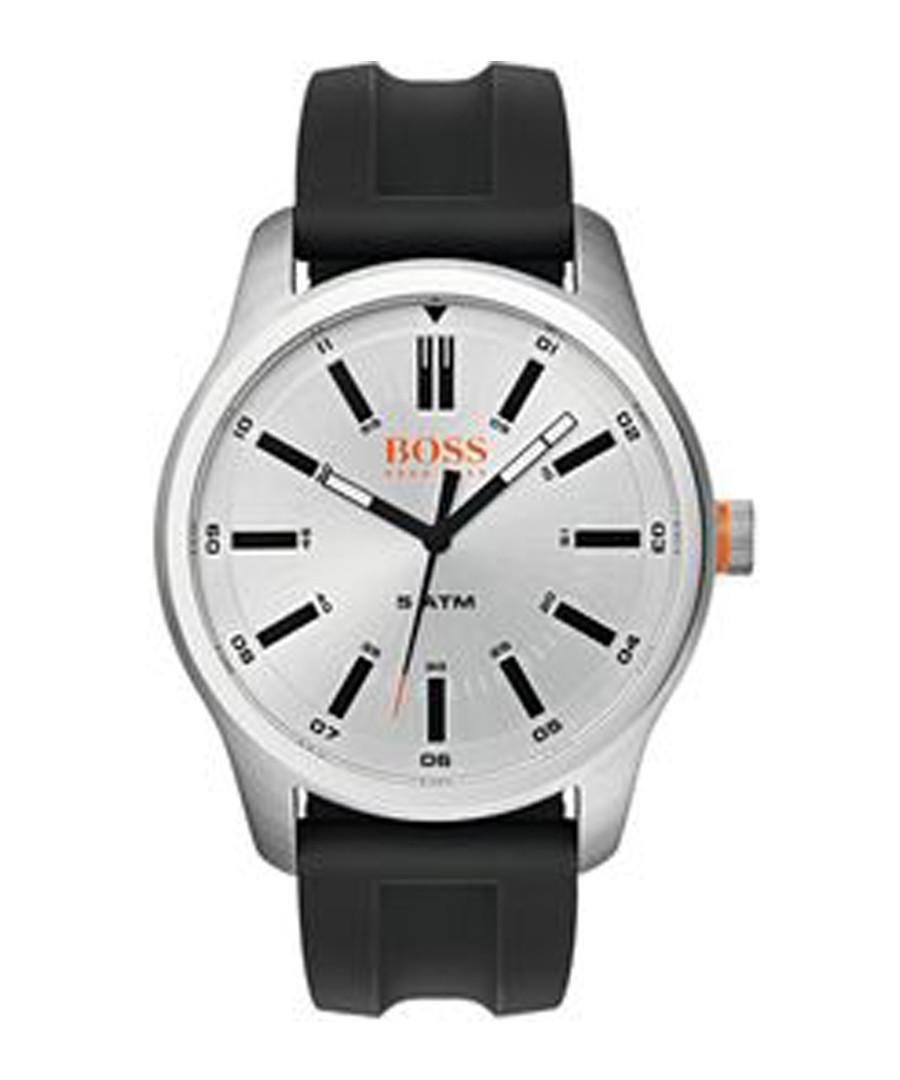 Orange black rubber & steel watch Sale - boss orange