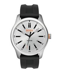 Orange black rubber & steel watch