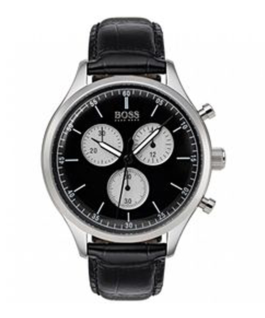 Black leather chrono watch Sale - hugo boss