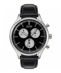 Black leather chrono watch