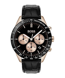 black leather & steel chrono watch