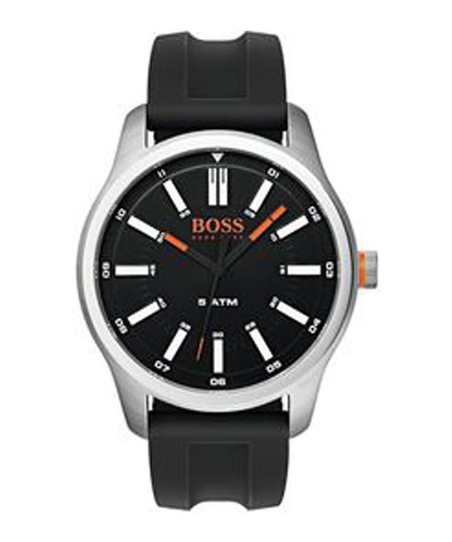 black rubber & steel watch Sale - boss orange