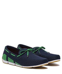 Breeze navy & green boat shoes