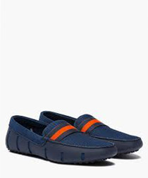 Webbing navy & orange loafers