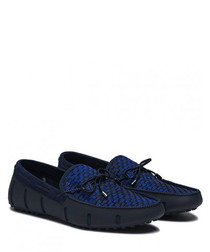 navy textured woven boat shoes