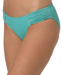 Aqua pleated bikini briefs