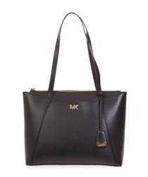 black cross-grain leather tote bag