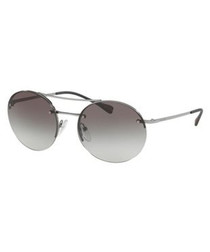 grey half-frame round sunglasses
