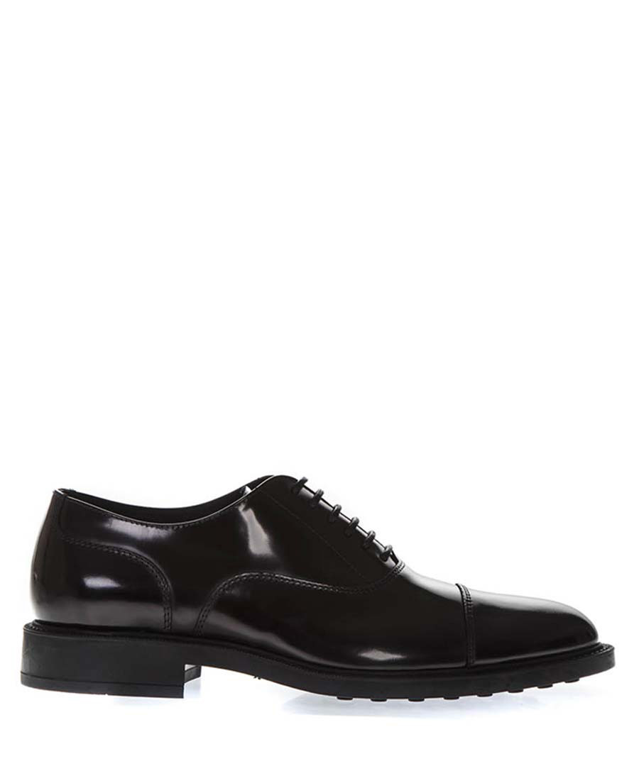 Classic black leather Oxford shoes Sale - tods
