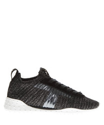 black shimmer mid sneakers