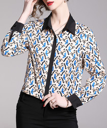Black & blue print long sleeve shirt