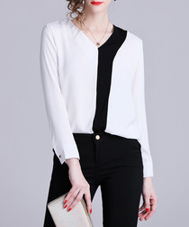 Monochrome long sleeve blouse