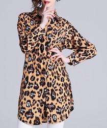 Leopard print longline shirt