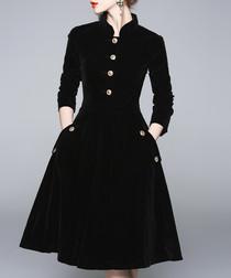 Black button-up A-line dress