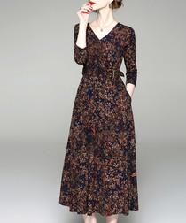 Brown floral print midi dress