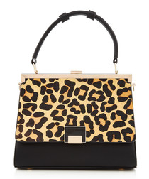 Black leopard print shoulder bag