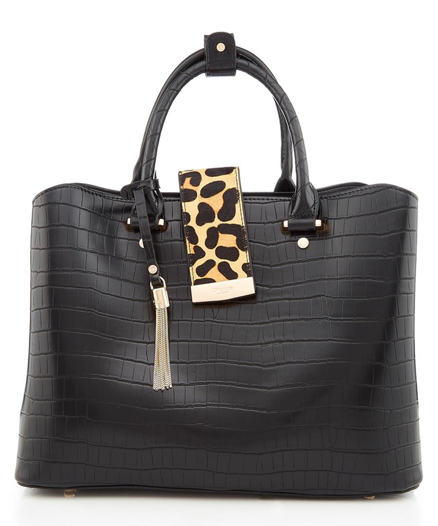 Black moc-croc & leopard grab bag Sale - dune