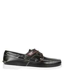 Black leather logo panel boat shoes