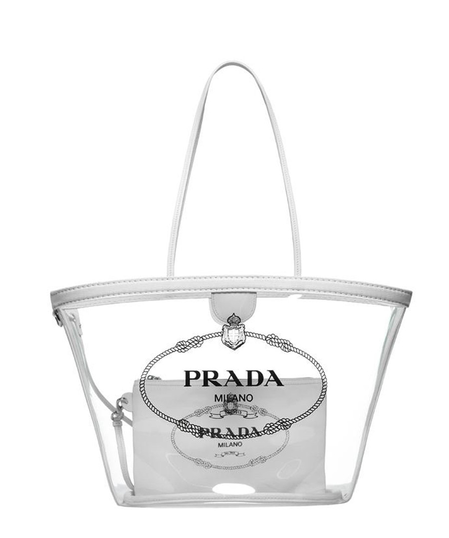 Transparent PVC logo tote bag Sale - prada