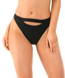 Black cut-out ribbed bikini briefs