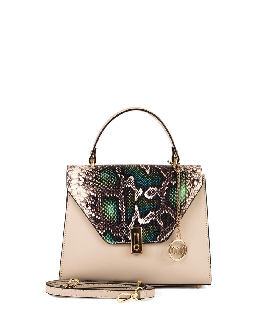 Ticinese beige snake-effect leather bag Sale - mia tomazzi