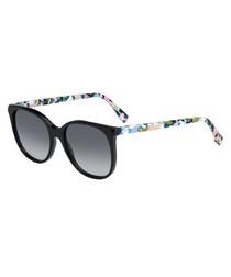 black & multi-havana sunglasses