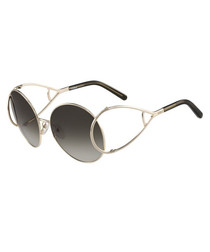 silver-tone & grey round sunglasses