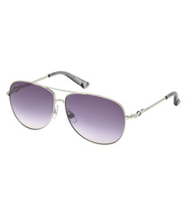 silver-tone & purple pilot sunglasses
