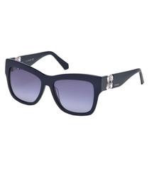 dark blue thick D-frame sunglasses